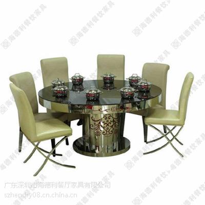 热卖 韩式现代圆型火锅桌 户外休闲餐厅钢化玻璃火锅桌台 促销