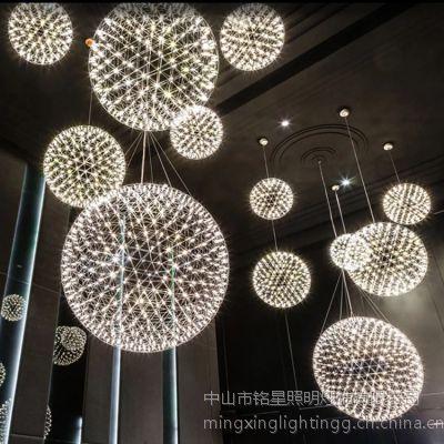 简约现代地中海创意艺术不锈钢球钻石球吊灯酒吧吧台会所灯饰灯具