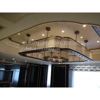 北京中元之光定制包房豪华吊灯金属拉丝玻璃工程灯八角玻璃棒非标吊灯定制销售