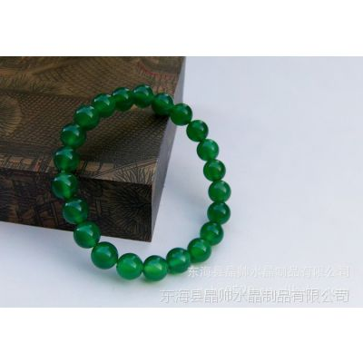 批发纯天然绿玛瑙手链 通透精选绿玛瑙手链 韩版手链 水晶手链