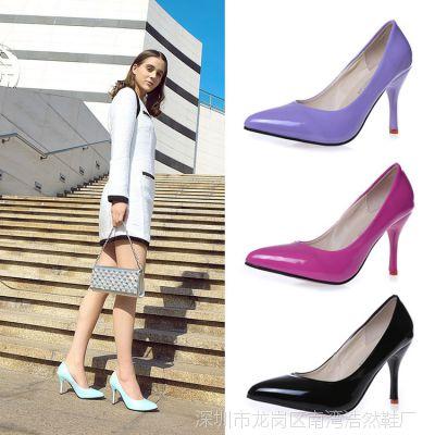 新款舒适正装女鞋细跟尖头职业单鞋黑色高跟鞋工作鞋大码皮鞋批发