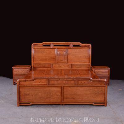 明清古典红木家具实木双人床缅甸花梨木非洲花梨高档明式红木明式大床