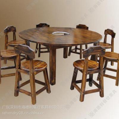 精品推荐 火锅店古典中式火锅桌 榆木实木火锅桌椅 做旧火锅桌椅组合