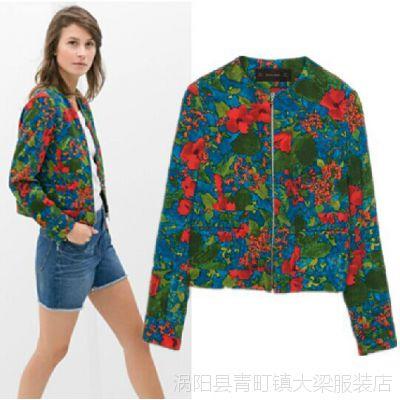 2014秋装新款欧美风花朵印花圆领拉链夹克薄款休闲小外套上衣