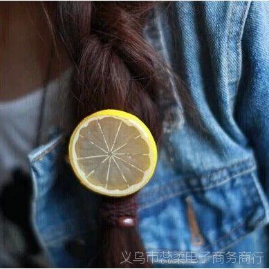 森女系女生仿真柠檬发夹头绳发圈 可爱软妹水果发饰 头饰头花皮筋