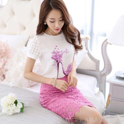 2015夏新款韩版连衣裙 印花女装雪纺打底衫绣花包臀短裙两件套