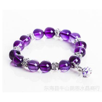 朗恩水晶 中国风佛珠绿玛瑙红玛瑙多色天然紫水晶手链 生日礼物
