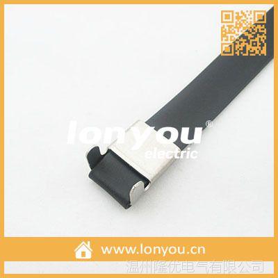 预制式喷塑不锈钢扎带/捆绑带(L型扣)