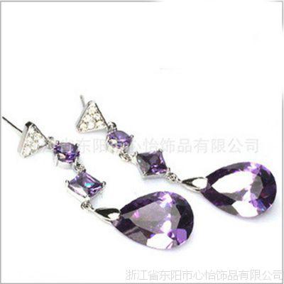韩版韩式时尚女款 水滴 AAA锆石耳坠耳环 铜镀真金长耳环