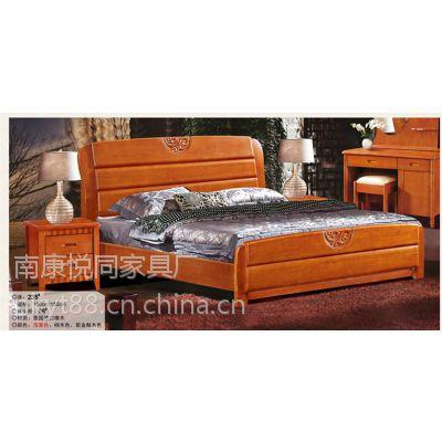 悦同家居高档全实木床1.5米 1.8米 橡木床 双人简约中式家具 高箱储物婚床