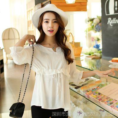 2015夏季新款女装衬衣韩版精品7分袖棉麻白衬衫亚麻女蝴蝶结 衬衫