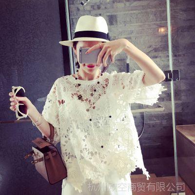 小银子2015春装新款气质半袖水溶蕾丝气质上衣X3317