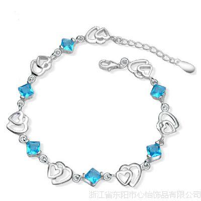 铜银首饰工厂 心形手链 环保铜镀银手链 手工镶嵌宝石