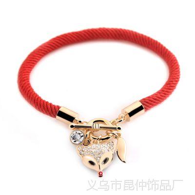 民族风合金时尚个性狐狸红绳子手链批发 高品质 水晶 5076
