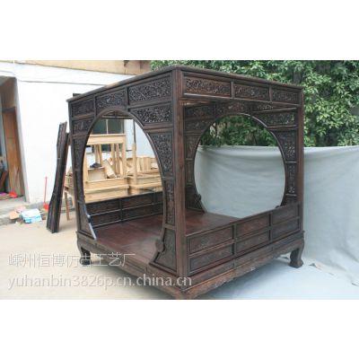 供应双月洞床 架子床 实木床 中式家具 雕花双人床 仿古家具 明清古典