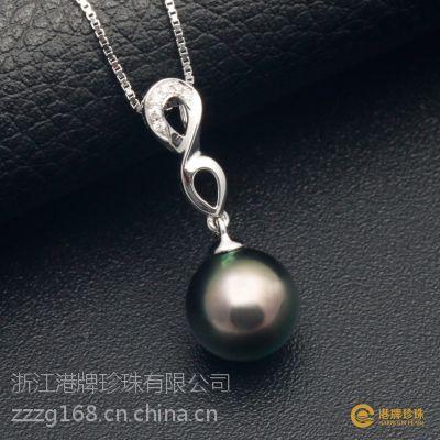 PGTHT0116 大溪地黑珍珠吊坠 9.2mm 18K金 正圆 强光