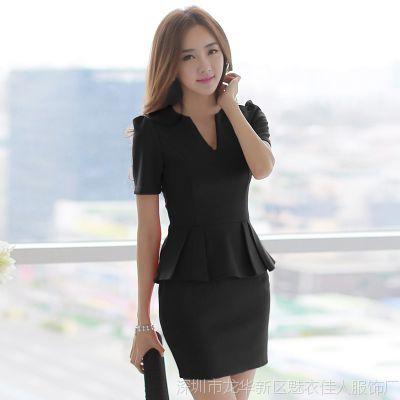 2015韩版女装套裙潮性感V领荷叶边修身包臀气质短袖连衣裙礼服裙