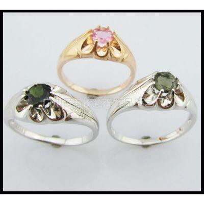 供应S925纯银戒指 天然碧玺戒指 开口戒指 时尚饰品 男女皆宜