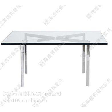简约西餐厅小方形钢化玻璃西餐桌 实惠优质长方形餐厅玻璃西餐桌定做
