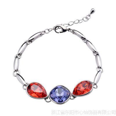 表白手链 韩版韩国欧美手链批发 复古首饰时尚 天然水晶 银手链