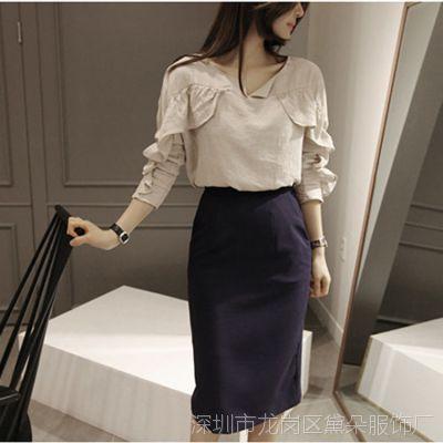 2015春夏款女装新品韩国东大门代购 荷叶边点缀棉混纺女式衬衫