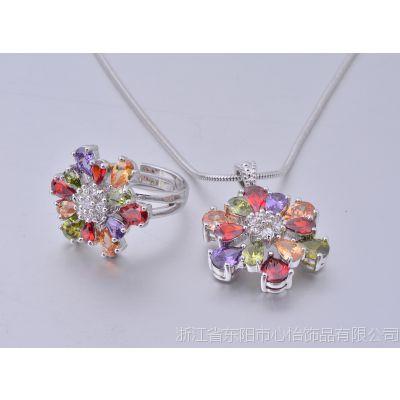 花朵套装 电视购物套装 彩色锆石水晶饰品 厂家现货批发