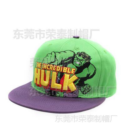 纯棉双色平沿棒球帽 欧美街舞帽绿巨人hulk cap custom 嘻哈帽潮