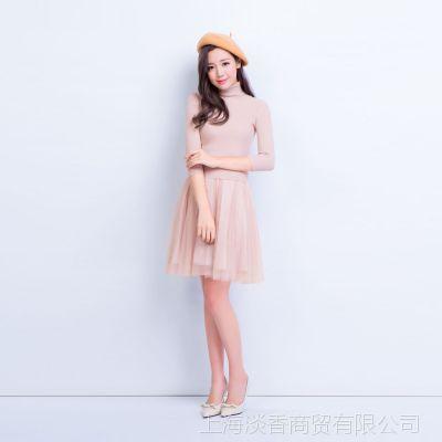 I'M PRINCESS新款复古两件套装高领针织衫+吊带连衣纱裙2209 2210
