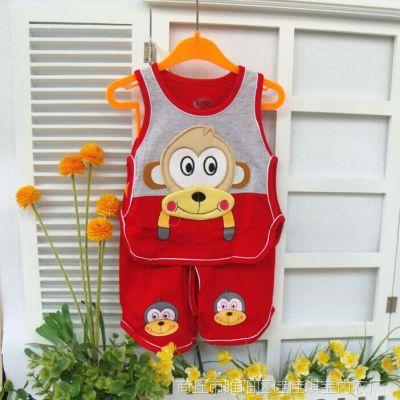 男童短袖夏装儿童套装女宝宝纯棉镂空背心琵琶衫猴子造型衣两件套