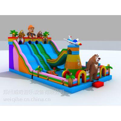 河南哪里有卖充气滑梯的 孩子们最喜欢的熊大充气蹦床 海洋世界大鲨鱼滑梯