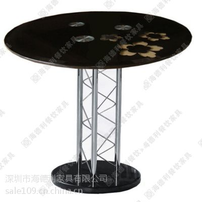 简约圆形大理石西餐桌 西餐厅咖啡厅圆形二人位西餐台 不锈钢桌脚西餐桌定做