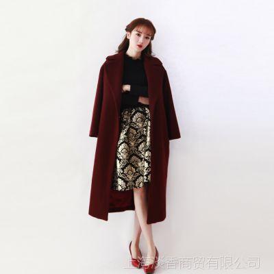 I'M PRINCESS欧美时尚宽松茧形羊绒长款大衣秋冬翻领毛呢外套2367