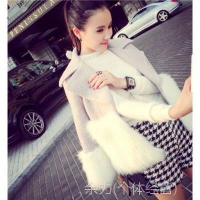 蘑菇家2014秋冬新款复古优雅小女人造型感十足舒适拼毛短外套B179