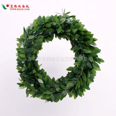 圣诞装饰品 绿色藤叶藤条花环配件