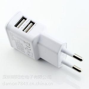 供应厂家直销 三星苹果手机充电器 通用双USB直充头 欧规 2A 白色