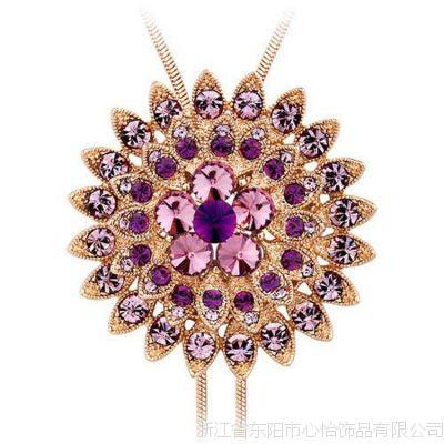 时尚新品 蜡镶微镶锆石长项链胸针两用-多边星行 金紫色 加工定制