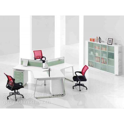 供应东莞办公家具厂 办公屏风桌组合4人位职员办公桌 钢架办公桌 国信办公家具屏风价格