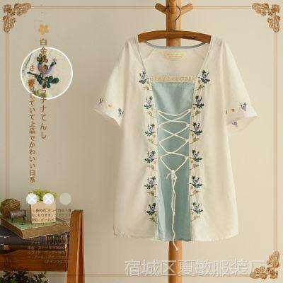 日系森女系2015夏装新款甜美孔雀植物枝条图案方领系带棉质衬衫