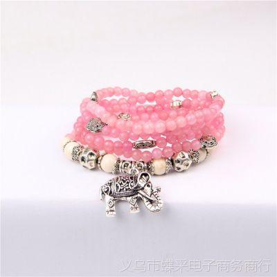 外贸出口首饰 韩版时尚多层石榴石碧玺大象手串天然水晶手链