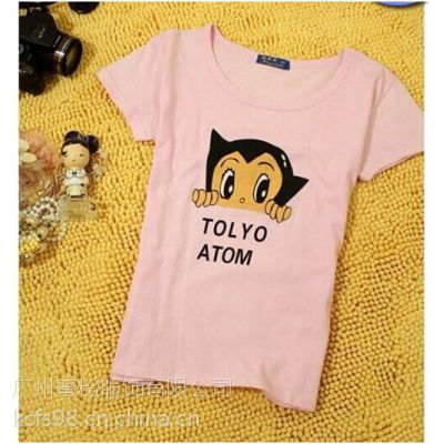 供应广州哪里有女装批发十三行款韩版时尚印花女装短袖T恤衫厂家特价批发