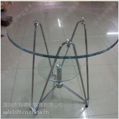 时尚设计双层圆形钢化玻璃西餐桌 创意艺术中高档西餐厅西餐桌 订做