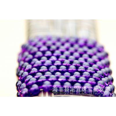 天然紫水晶长链散珠DIY配件长链 晶体通透等级直销价格5A批发