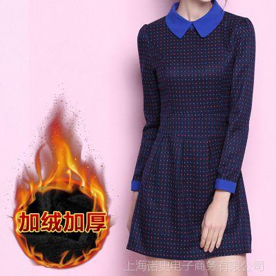 2014秋装新款女装韩版修身翻领长袖大码显瘦加绒毛呢连衣裙 秋冬