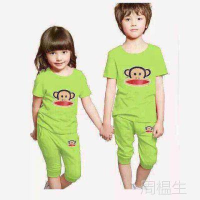 低价批发夏季江湖地摊热销服装卡通儿童套装短袖夏季童装