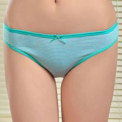 厂家直销条纹全棉女士内裤 舒适提臀女式内裤 现货女士三角裤批发