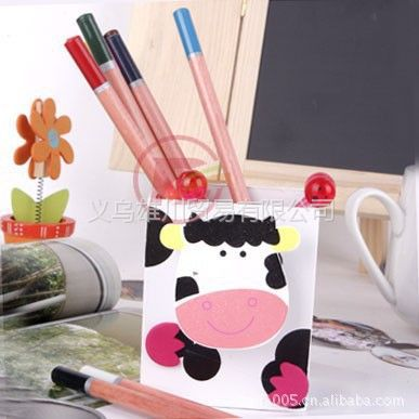 供应义乌小商品动物木制笔筒(黑白奶牛)