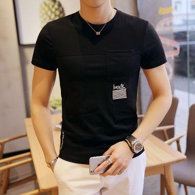 忆惜格罗2017刺绣男装 夏季韩版男式大码T恤 男士圆领纯棉T恤潮牌短袖男