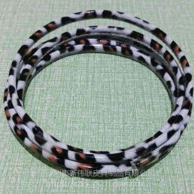 豹子纹皮革包芯充电线 热销单头手机数据线 高档PU革充电数据线