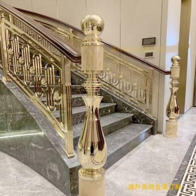 质量上乘的玫瑰金铜艺楼梯护栏 精雕楼梯扶手批发/采购