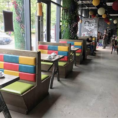 深圳烤鱼店卡座沙发定制,实木贴皮主题餐厅卡座